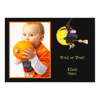 Trick or Treat Halloween Witch Photo Frame or Card