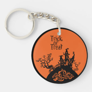 Trick or Treat Hallowen House Double-Sided Round Acrylic Key Ring