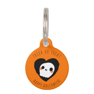 Trick or Treat Happy Halloween Cute Ghost Custom Pet ID Tag