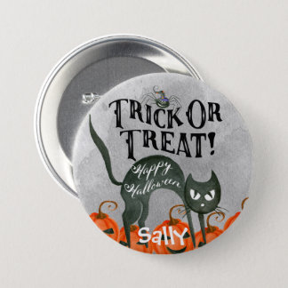 trick or treat happy halloween spider badge button