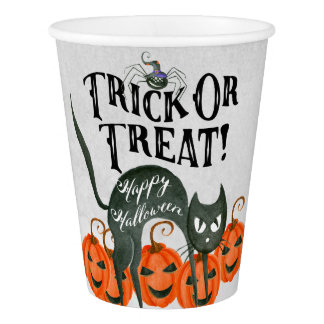 trick or treat happy halloween spider paper cups