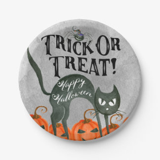 trick or treat happy halloween spider paper plate 7 inch paper plate