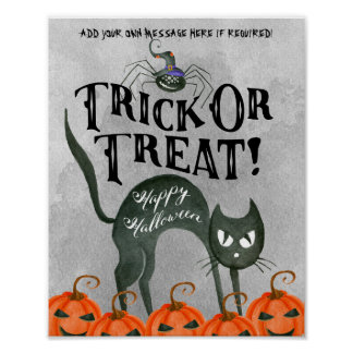 trick or treat happy halloween spider poster sign