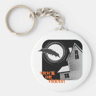 Trick or Treat Haunted House Basic Round Button Key Ring
