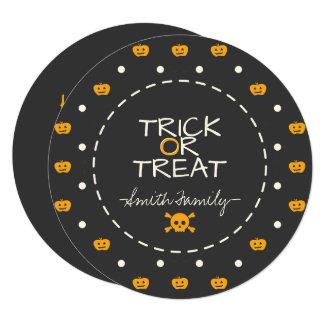 Trick Or Treat. Jack O Lantern White Polka Dots Card