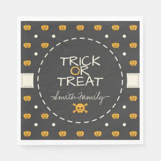 Trick Or Treat. Jack O Lantern White Polka Dots Disposable Napkins