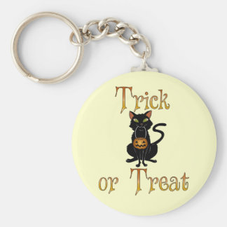 Trick or Treat Kitty Basic Round Button Key Ring