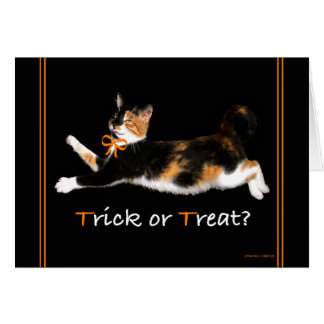 """Trick or Treat Kitty"" Greeting Card"