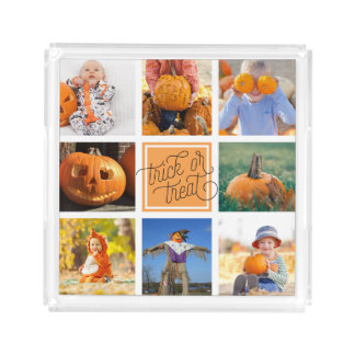 Trick or Treat Modern Halloween Photo Collage Acrylic Tray