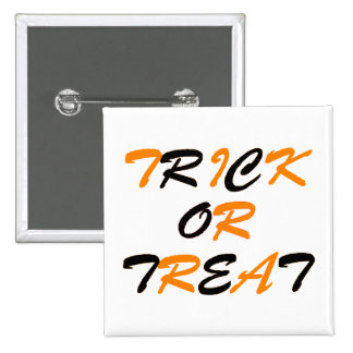 Trick or Treat Orange and Black Pinback Buttons