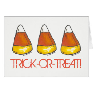 Trick-or-Treat Orange Happy Halloween Candy Corn Card