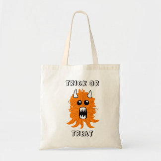 """Trick or Treat"" Orange Monster Halloween Tote"