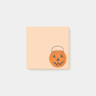 Trick-or-Treat Orange Pumpkin Bucket Halloween Post-it Notes