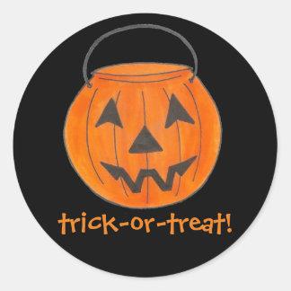 Trick or Treat Orange Pumpkin Halloween Stickers