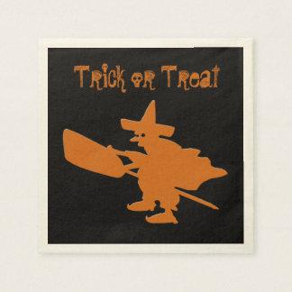 Trick or Treat Orange Witch Disposable Serviettes