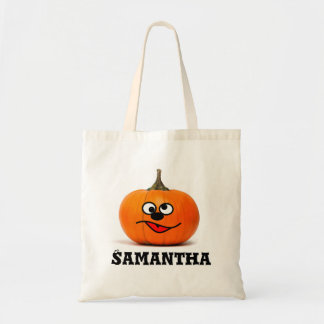 Trick or treat personalised pumpkin candy tote bag
