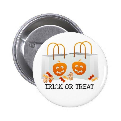 TRICK OR TREAT PUMPKIN BAG HALLOWEEN CANDY PRINT BUTTON