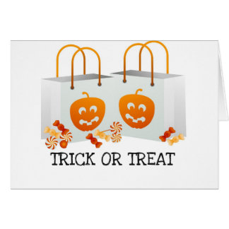 TRICK OR TREAT PUMPKIN BAG HALLOWEEN CANDY PRINT GREETING CARD