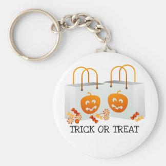 TRICK OR TREAT PUMPKIN BAG HALLOWEEN CANDY PRINT BASIC ROUND BUTTON KEY RING