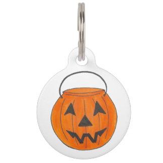 Trick or Treat Pumpkin Bucket Halloween Pet Tag