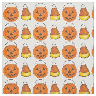 Trick or Treat Pumpkin Candy Corn Halloween Fabric