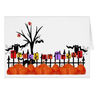 Trick or Treat Pumpkin Fence Card