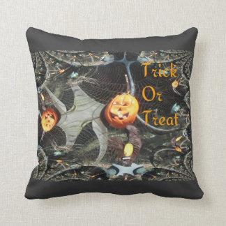 Trick or Treat Pumpkin Fractal Throw Pillow