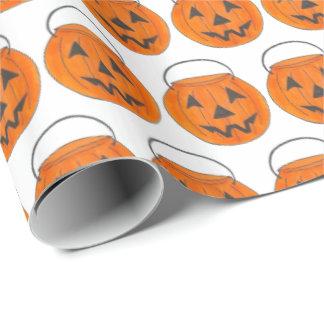 Trick or Treat Pumpkin Jack o' Lantern Halloween Wrapping Paper