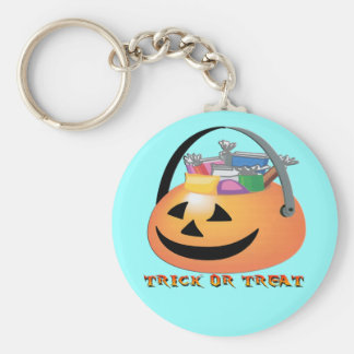 Trick or Treat Pumpkin Basic Round Button Key Ring