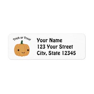 Trick or Treat Pumpkin Return Address Label