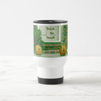 Trick or Treat Pumpkins in Greenish Hues 15 Oz Stainless Steel Travel Mug