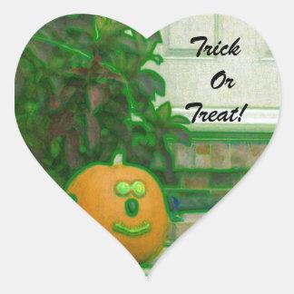 Trick or Treat Pumpkins in Greenish Hues Heart Sticker