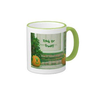 Trick Or Treat Pumpkins on Doorstep Ringer Coffee Mug