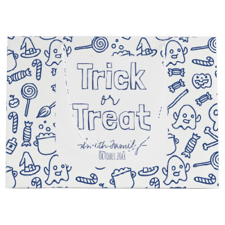 Trick or Treat. Skulls Ghosts Witches and Candy. Large Gift Bag