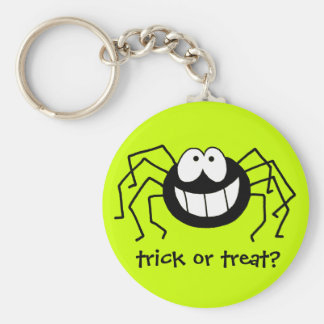 Trick or Treat Spider Basic Round Button Key Ring