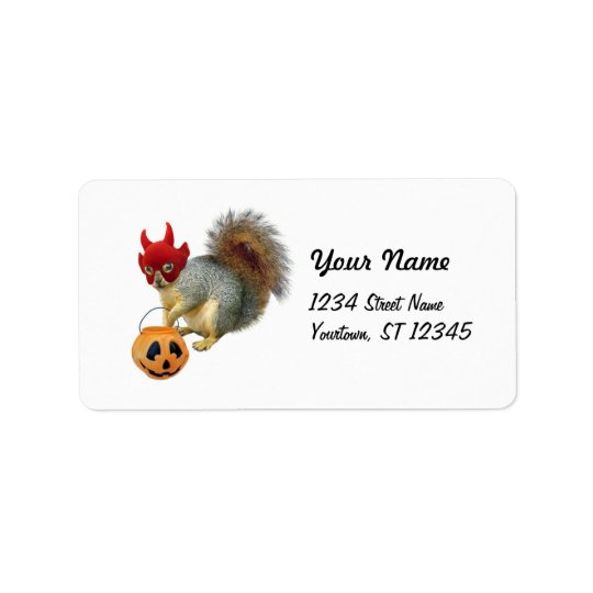 Trick-or-Treat Squirrel Address Label