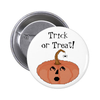 Trick or Treat Startled Pumpkin Button