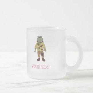 Trick or Treat Toddler Frankenstein Custom Name Frosted Glass Mug