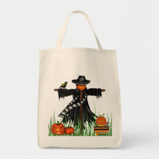 Trick or Treat Tote Bag with Pumpkins Scarecrow