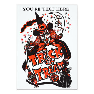 Trick or Treat Witch Halloween (vintage) 13 Cm X 18 Cm Invitation Card