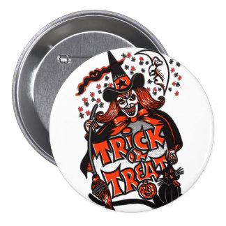 Trick or Treat Witch Halloween (vintage) 7.5 Cm Round Badge