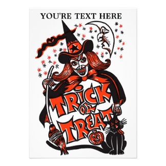Trick or Treat Witch Halloween (vintage) Invitation