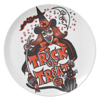 Trick or Treat Witch Halloween (vintage) Plate
