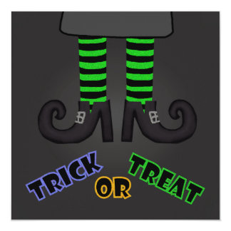"Trick Or Treat Witches Feet Party Invitation 5.25"" Square Invitation Card"