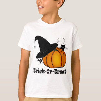"""""""Trick-Or-Treat!"""" Witch's Hat, Cats, Pumpkin T-Shirt"""