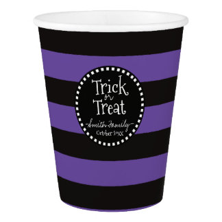 Trick or Treat Witch's Whimsical Stripes Paper Cup