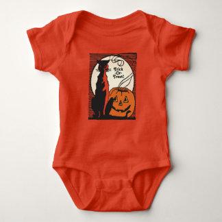 Trick-Or-Treat with Black Cat, Pumpkin & Moon Baby Bodysuit