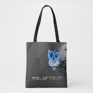 """Trick or treat"" with blue baby owl Tote Bag"