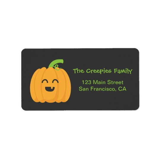 Trick or Treat with Cute Pumpkin for Halloween Address Label