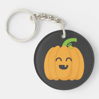 Trick or Treat with Cute Pumpkin for Halloween Double-Sided Round Acrylic Key Ring